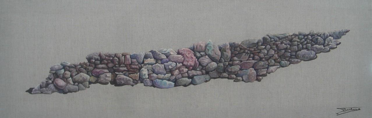 """""""Pierre Sèche #0"""" (150x50)cm, Huile sur lin brut (2010)"""