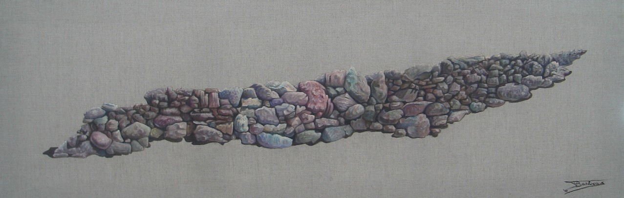 """""""Pierre Sèche #0"""" (150x50)cm, Huile sur lin brut (2010) - Collection privée"""