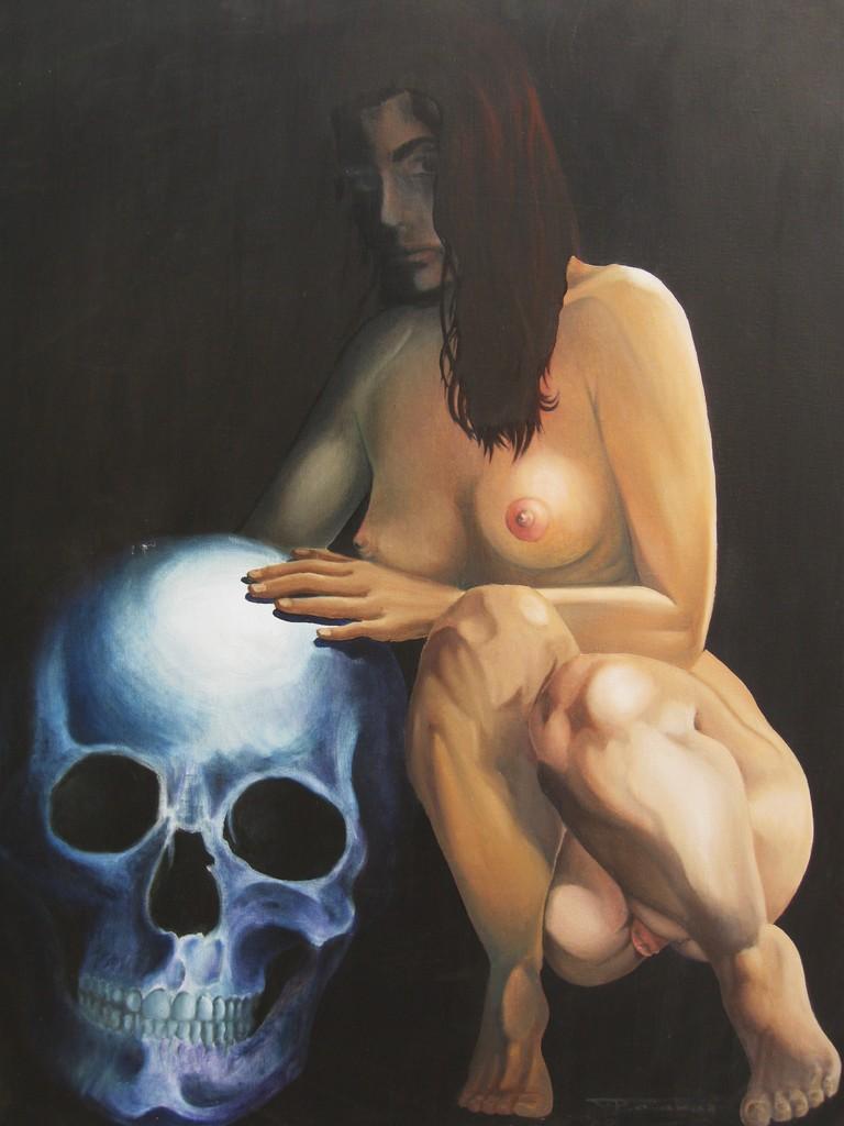 """""""Der Tod und das Mädchen"""" (77.5x90)cm, Huile sur lin"""
