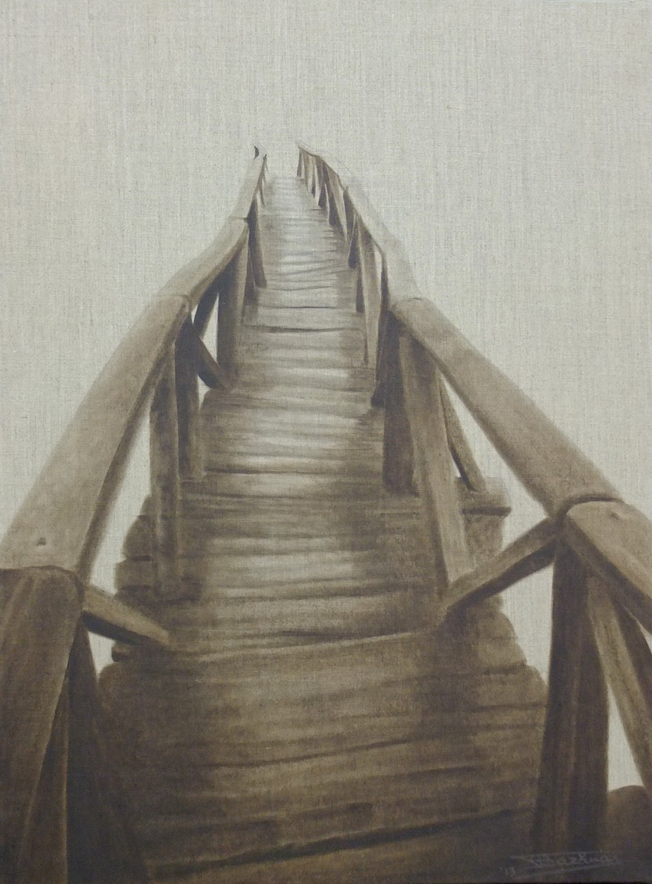 """The Bridge""  (54x73)cm, Huile sur lin brut, 2013 - Collection privée"