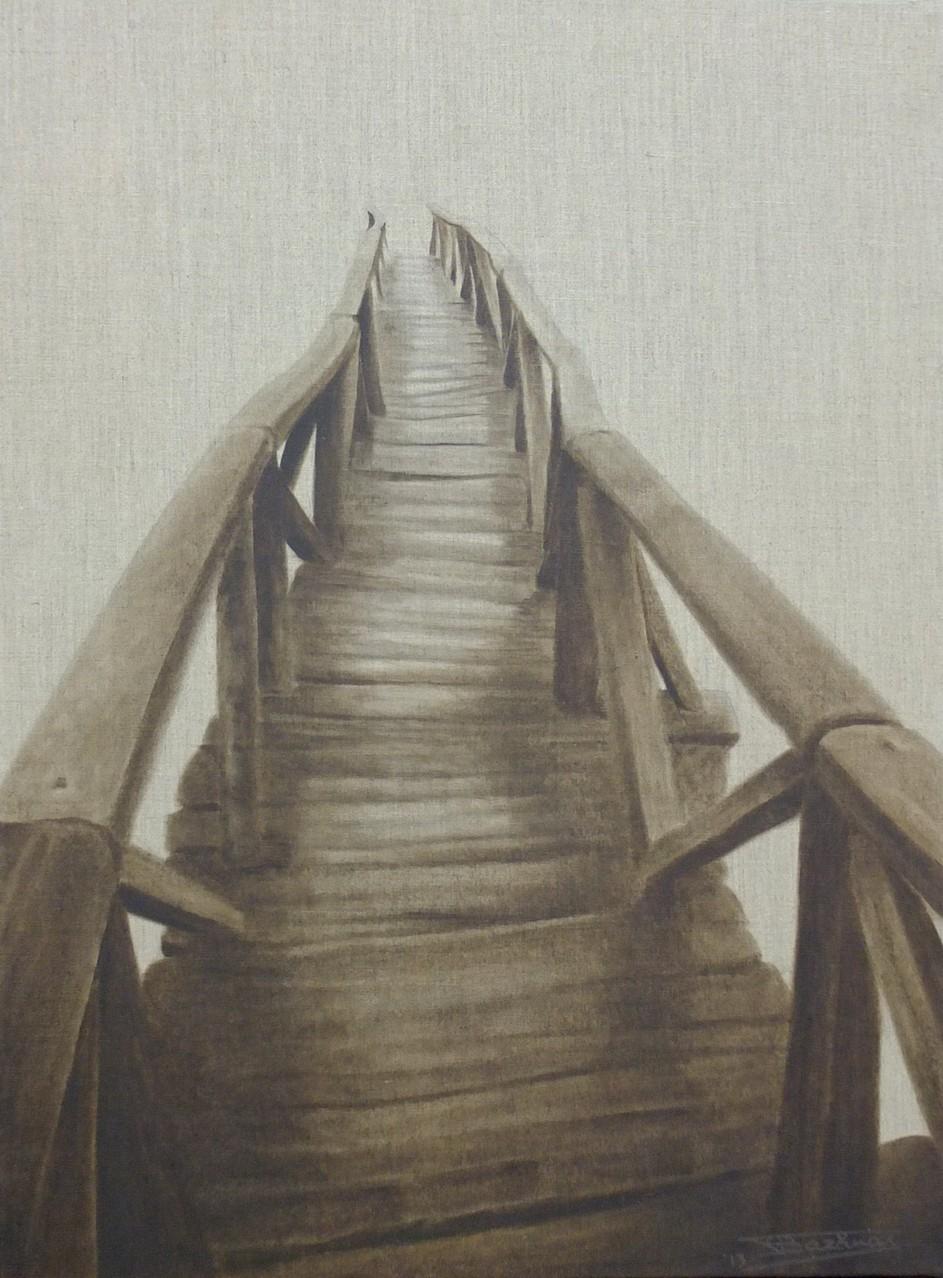 """""""The Bridge""""  (54x73)cm, Huile sur lin brut, 2013 - Collection privée"""