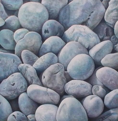 """""""Galets #03"""" (40x40)cm, Huile sur lin brut - Collection privée"""