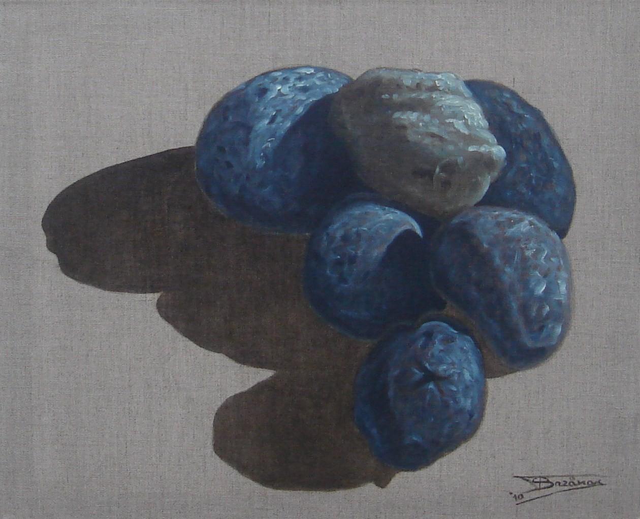 """""""Pierre Verte"""" (61x50)cm, Huile sur lin brut (2010) - Collection privée"""