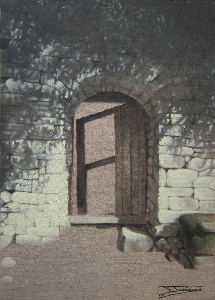 """""""Passage #1"""" (33x46) cm, Huile sur lin brut (2012) - Collection privée"""