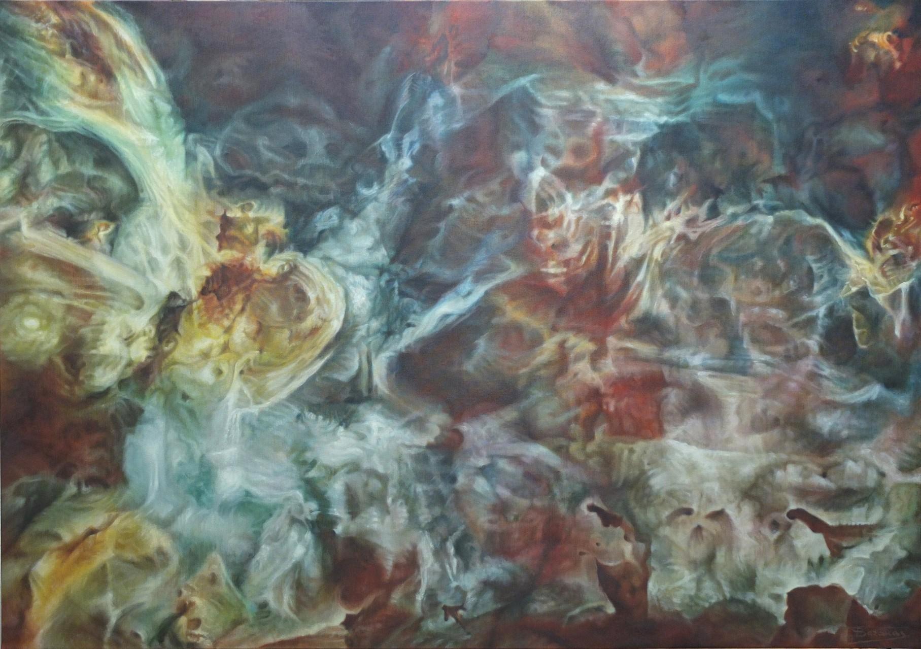 """""""Feast"""" (162x114), Huile sur lin brut, 2014"""