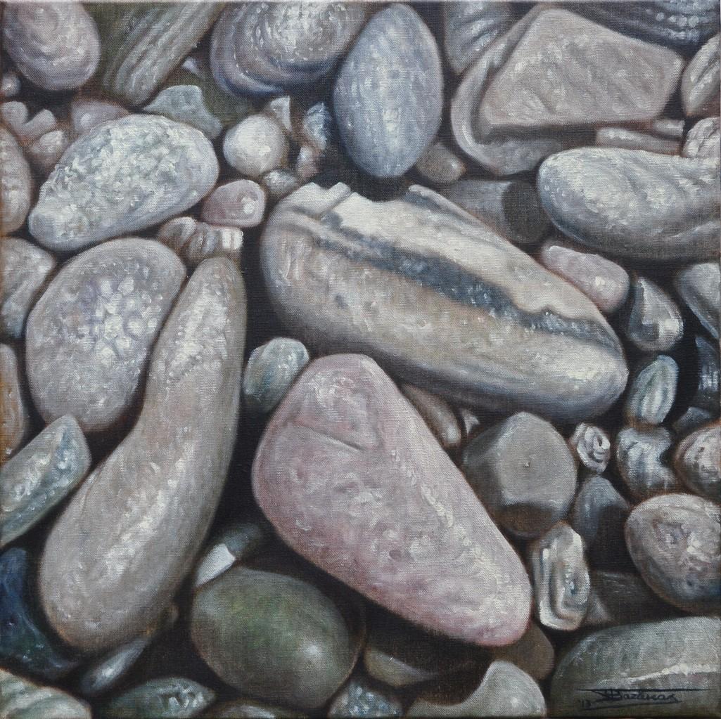 """""""Wet Pebbles #1"""" (50x50)cm, Huile sur lin brut (2013)"""
