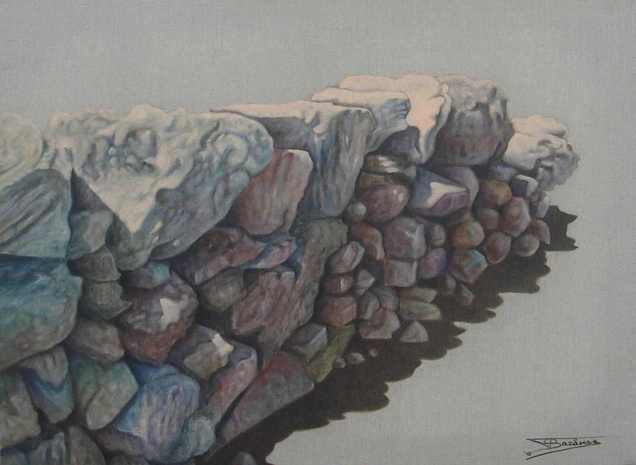 """""""Pierre Sèche #04 (81x60)cm, Huile sur lin brut (2010)"""
