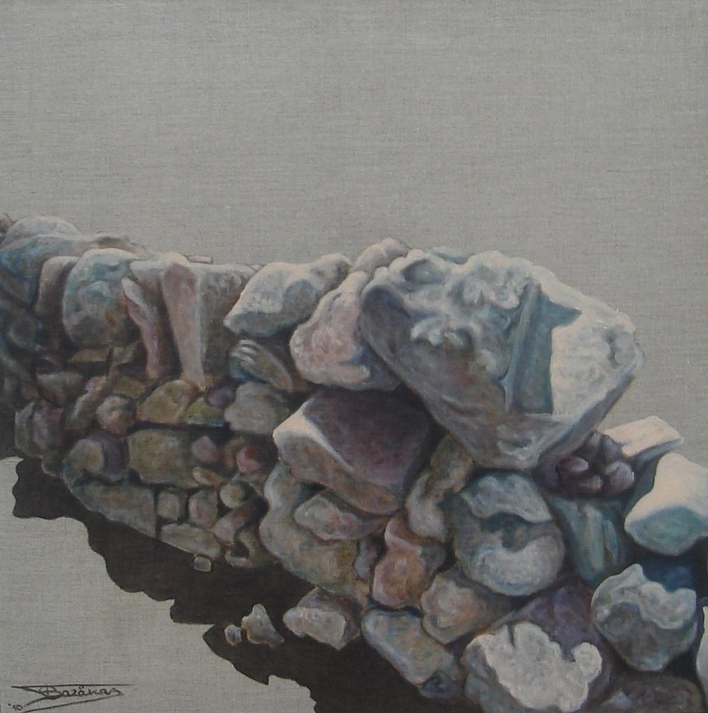 """""""Pierre Sèche #05"""" (60x60)cm, Huile sur lin brut (2010)"""