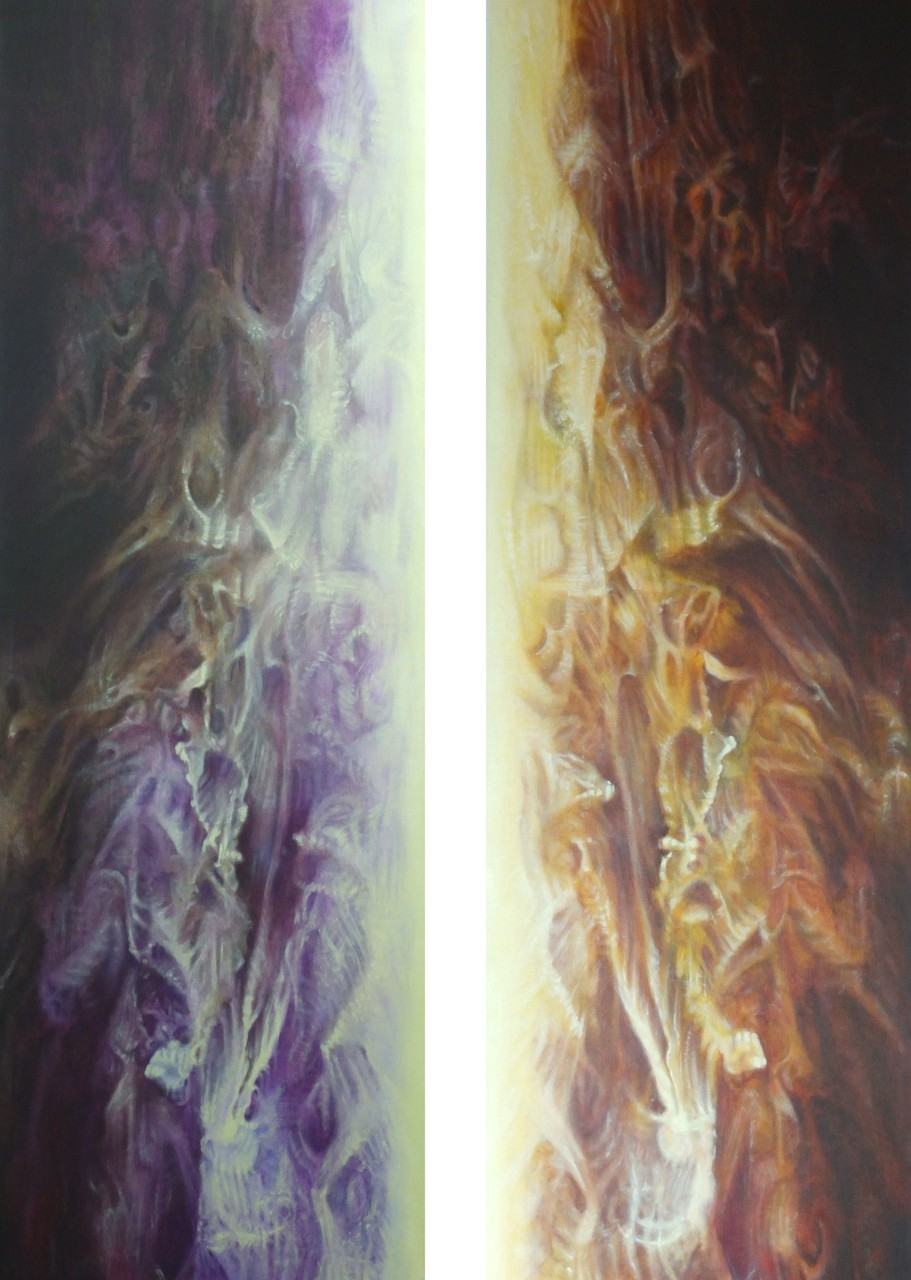"""Catharsis"" 2x(60x180)cm diptyque, Huile sur lin, 2015"