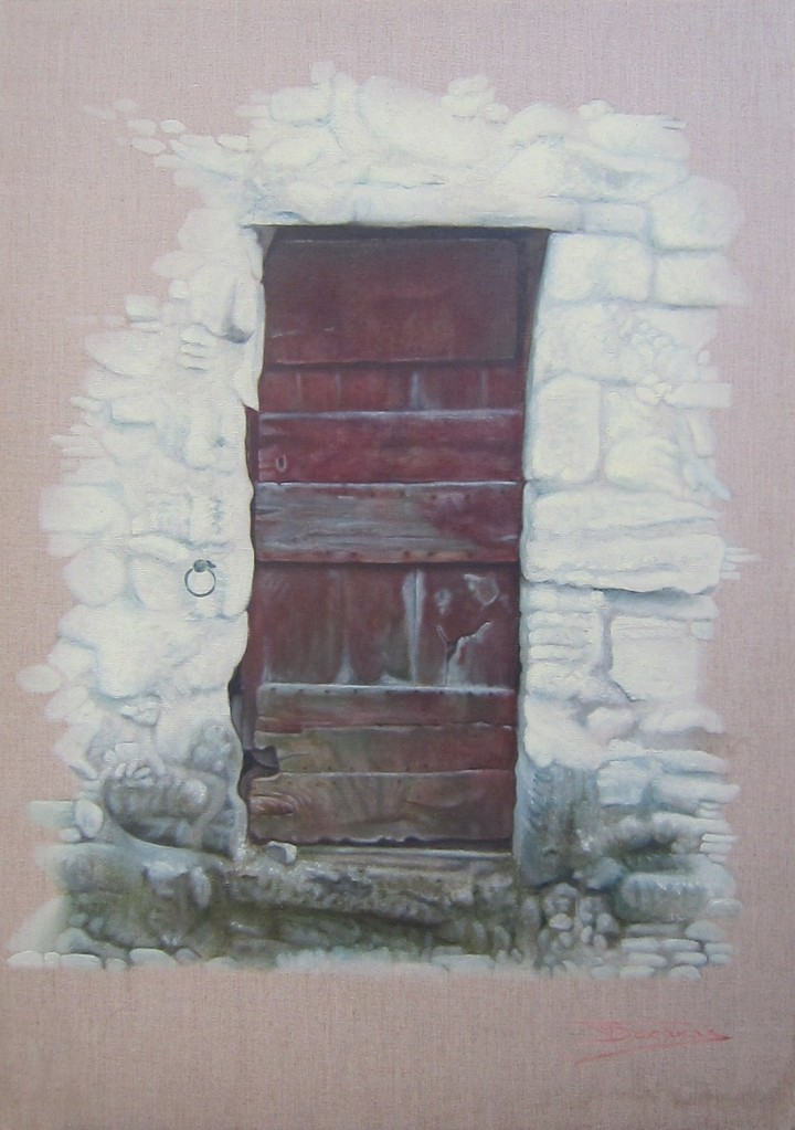 """The Red Door"" (65x92)cm, Huile sur lin brut (2011)"