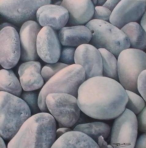 """""""Galets #02"""" (40x40)cm, Huile sur lin brut - Collection privée"""