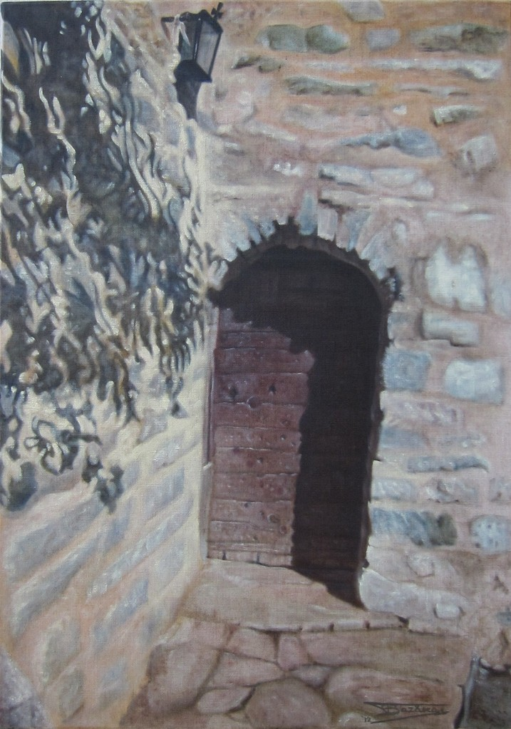 """""""Passage #9"""" (46x65)cm, Huile sur lin brut (2012)"""