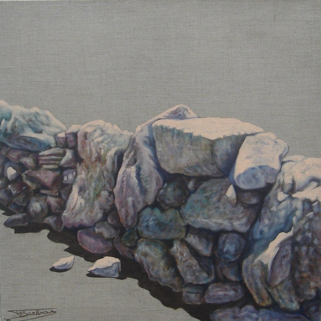 """""""Pierre Sèche #02"""" (60x60)cm, Huile sur lin brut (2010)"""
