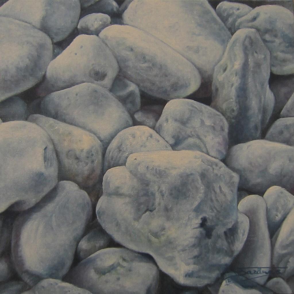 """""""Galets #04"""" (40x40)cm, Huile sur lin brut - Collection privée"""