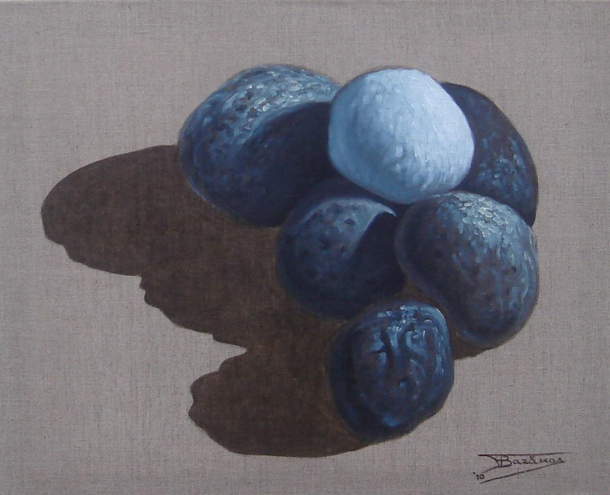 """""""Pierre Blanche"""" (61x50)cm, Huile sur lin brut (2010) - Collection privée"""