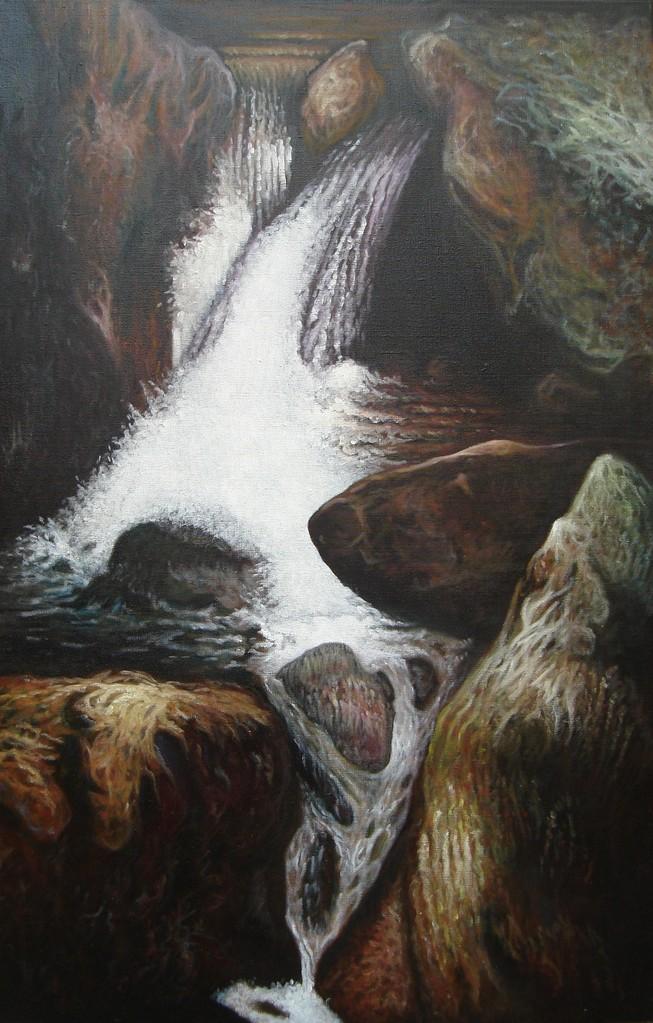 """""""Cascade #2"""" (65x100)cm, Huile sur lin"""