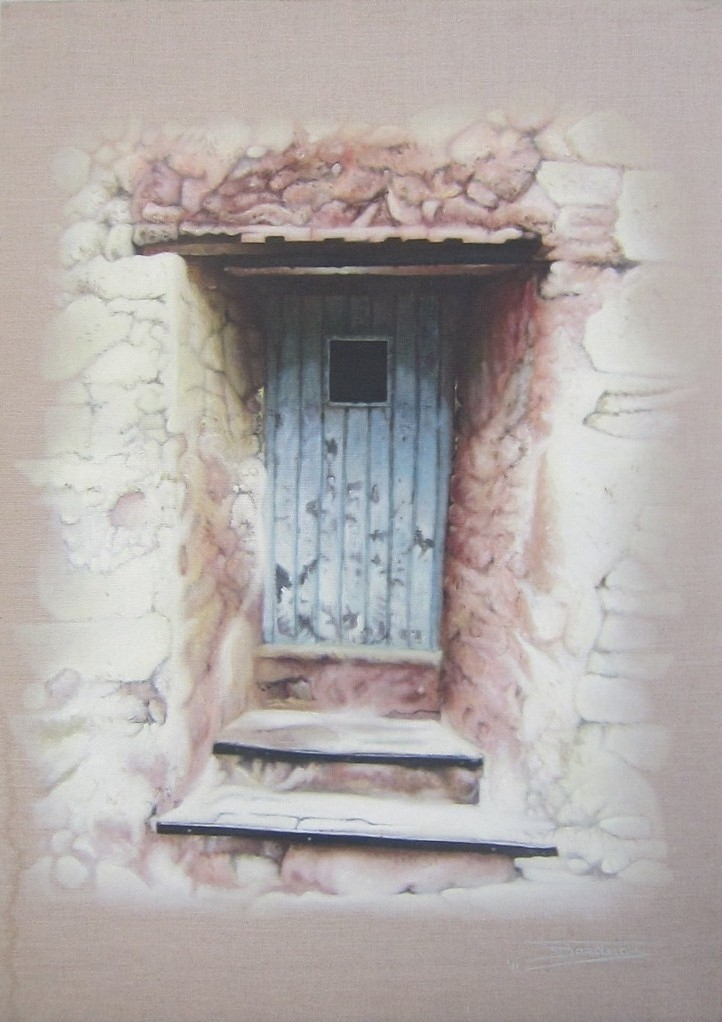 """The Blue Door"" (65x92)cm, Huile sur lin brut (2011)"