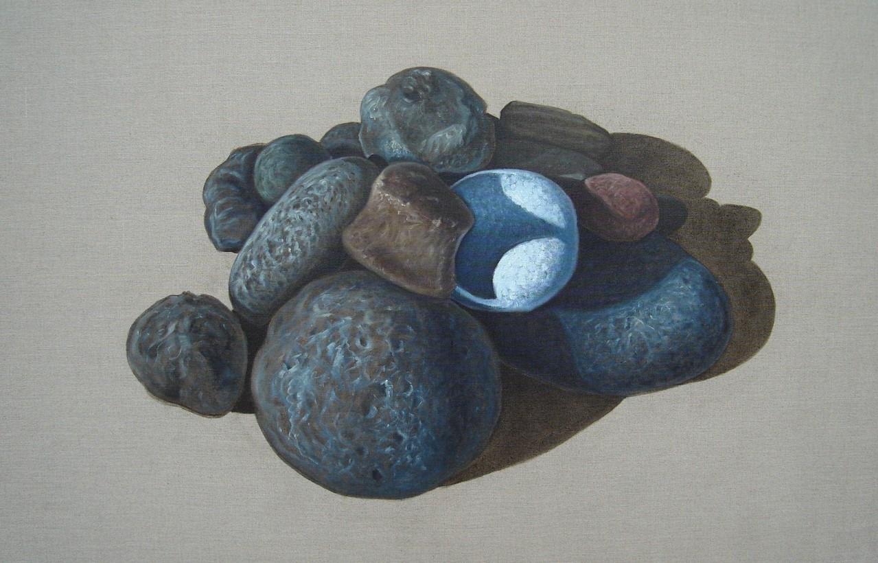 """""""Pierres #01"""" (100x65)cm, Huile sur lin brut (2010) - Collection privée"""