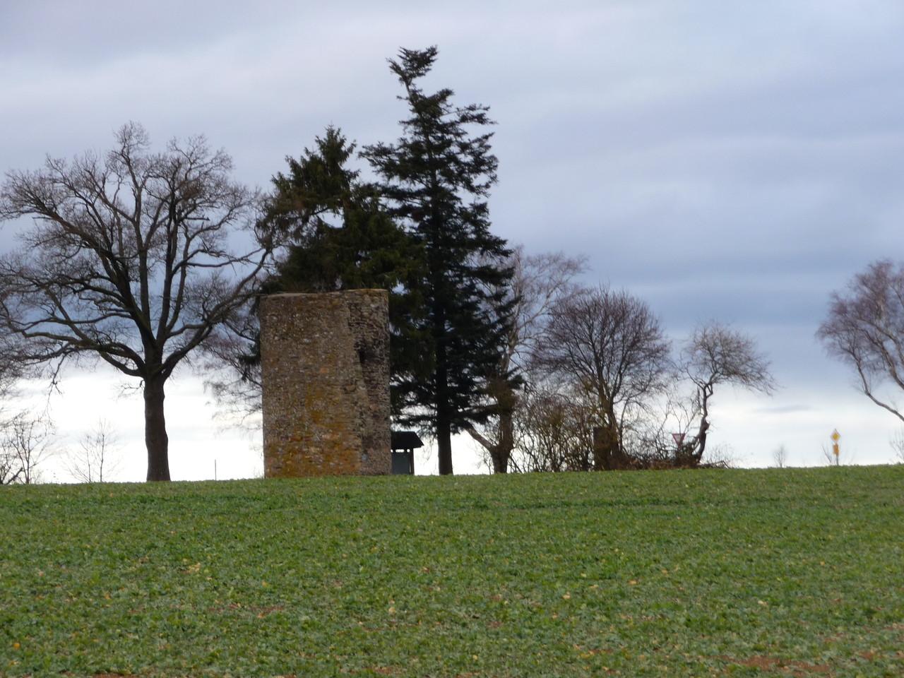 Stumpfer Turm von Hinzerath, ein ehemaliger Signalturm der Burgruine Baldenau