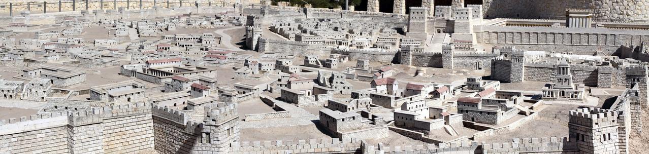 Die Stadt wurde im Maßstab 1:50 nachgebildet kurz vor ihrer Zerstörung im Jahre 70.