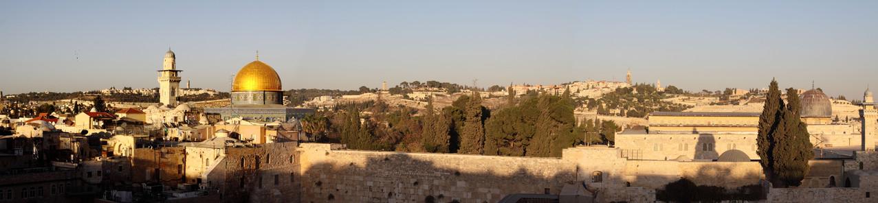 Israel-das heilige Land mit den religiös bedeutendsten Orten der Menschheitsgeschichte, wie hier gezeigt der Tempelberg mit Felsendom und Al-Aqsa-Moschee