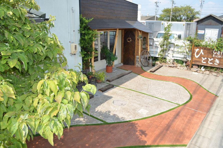 木目 木目調 デッキ 枕木 無垢材 天然 素材 材木 木材 ウッド 古材 デザインコンクリート スタンプコンクリート