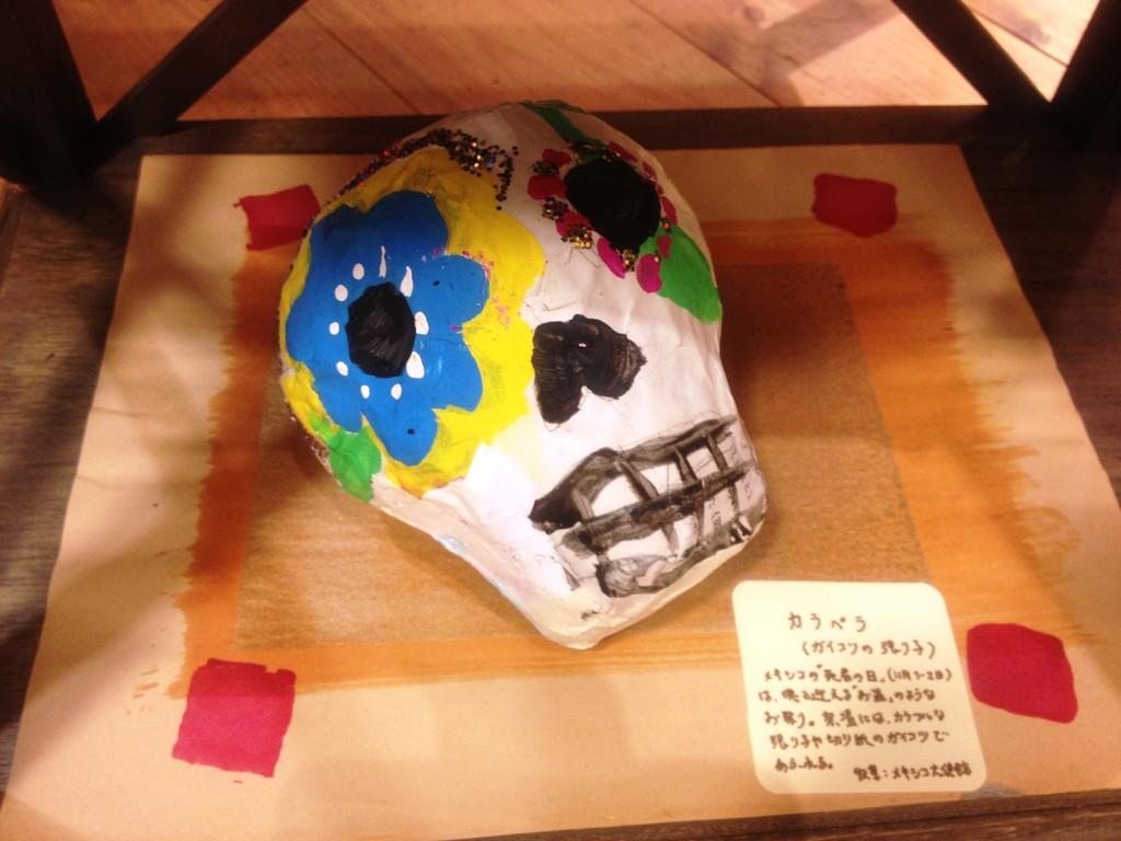 メキシコの「死者の日」で飾られる張り子のガイコツ。(制作:下中菜穂さん)