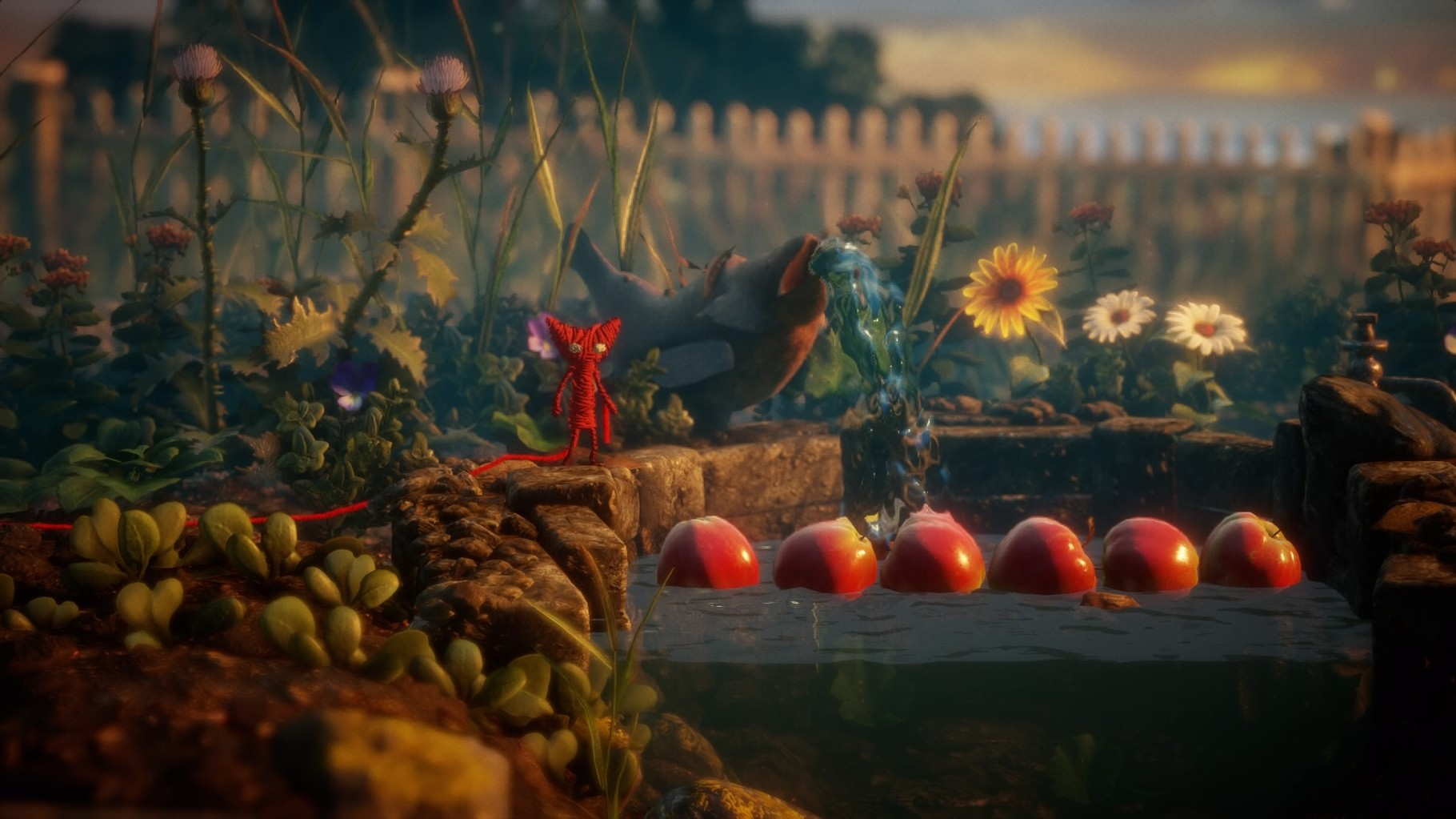 Yarny baut Brücken aus Äpfeln...