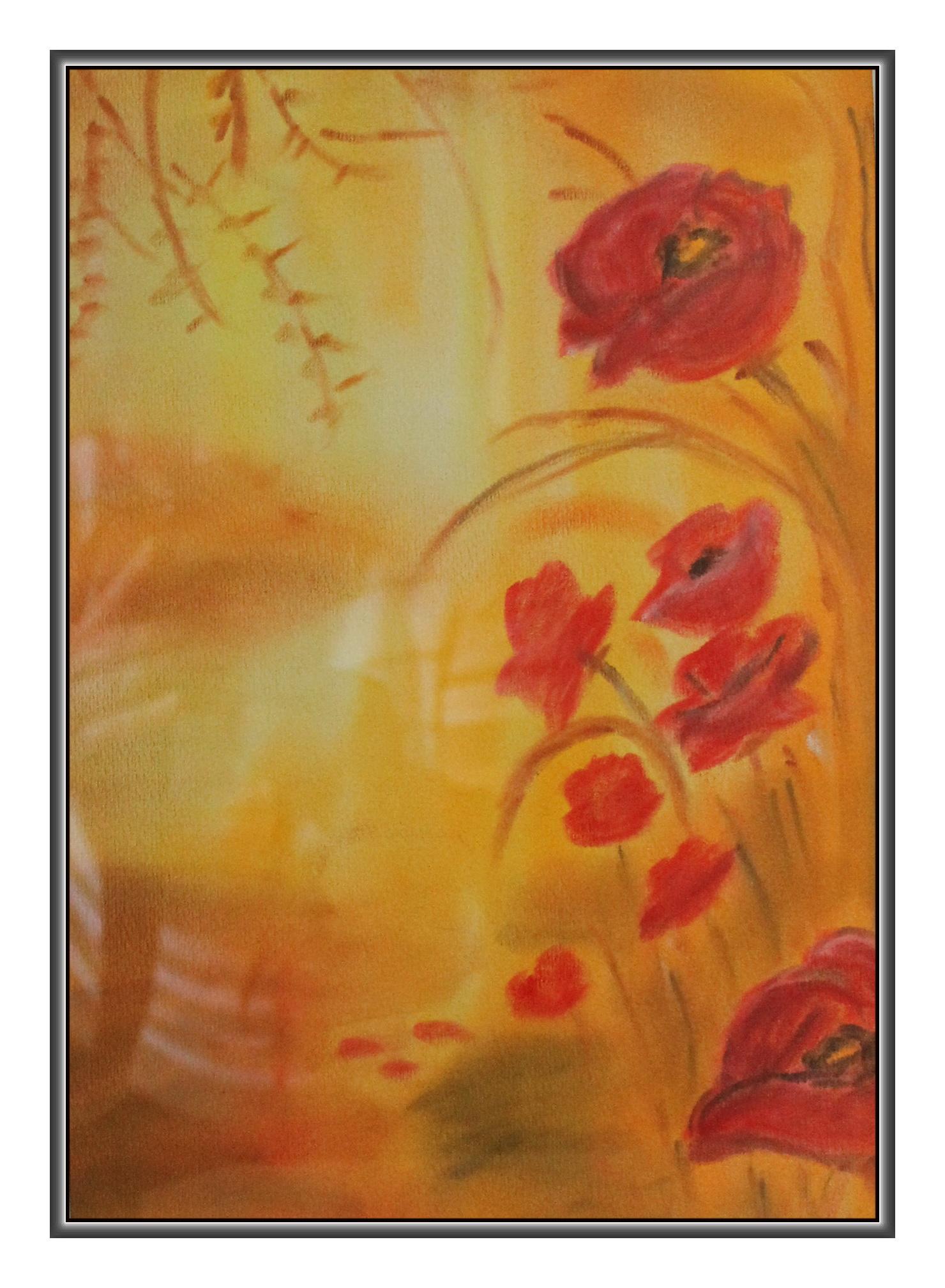 Mohnblume im Kornfeld - Pastellkreide - 18 breit und 24 cm hoch (ohne Rahmen)