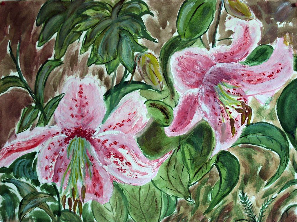 Lilien - Aquarellfarben - 32 breit und 24 cm hoch (ohne Rahmen)