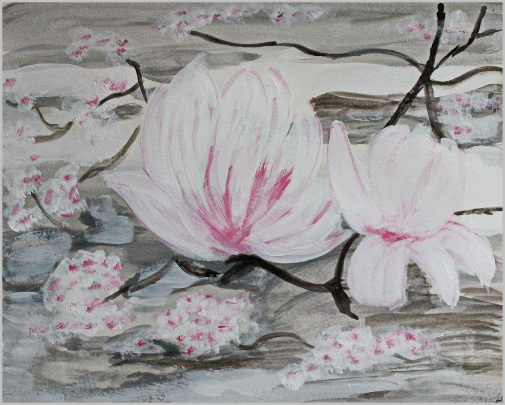 Magnolienblüten -  Aquarellfarben - 48 cm breit und 36 cm hoch (ohne Rahmen)