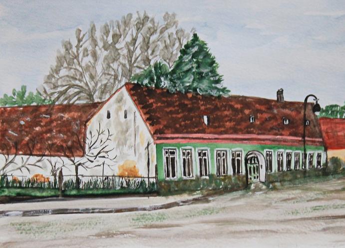 Altes Bauernhaus - Aquarellfarben - 26,5 breit und 19,5 cm hoch (ohne Rahmen)