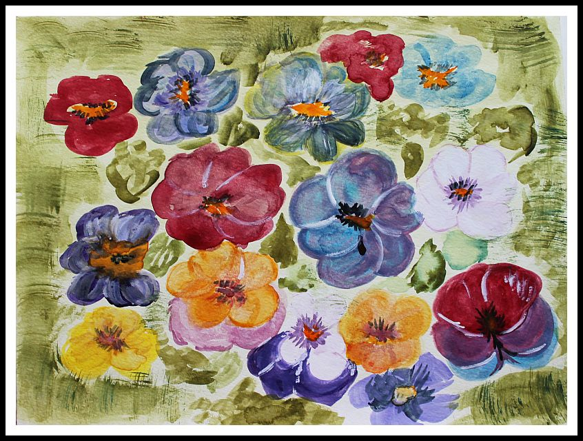 Blütenzauberei  - Aquarellfarben - 40 breit und 30 cm hoch (ohne Rahmen)