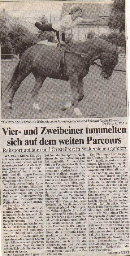 Ein Zeitungsartikel aus der Thüringer Allgemeinen von 1995.