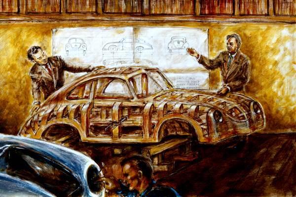 Paulux: Erwin Komenda erklärt Ferry Porsche das Design des Porsche 356. Das abgebildete Holzmodell (heute in der Pinakothek der Moderne München, Design Abteilung) diente als Form für die Herstellung von Karosserie Teilen aus Aluminium.