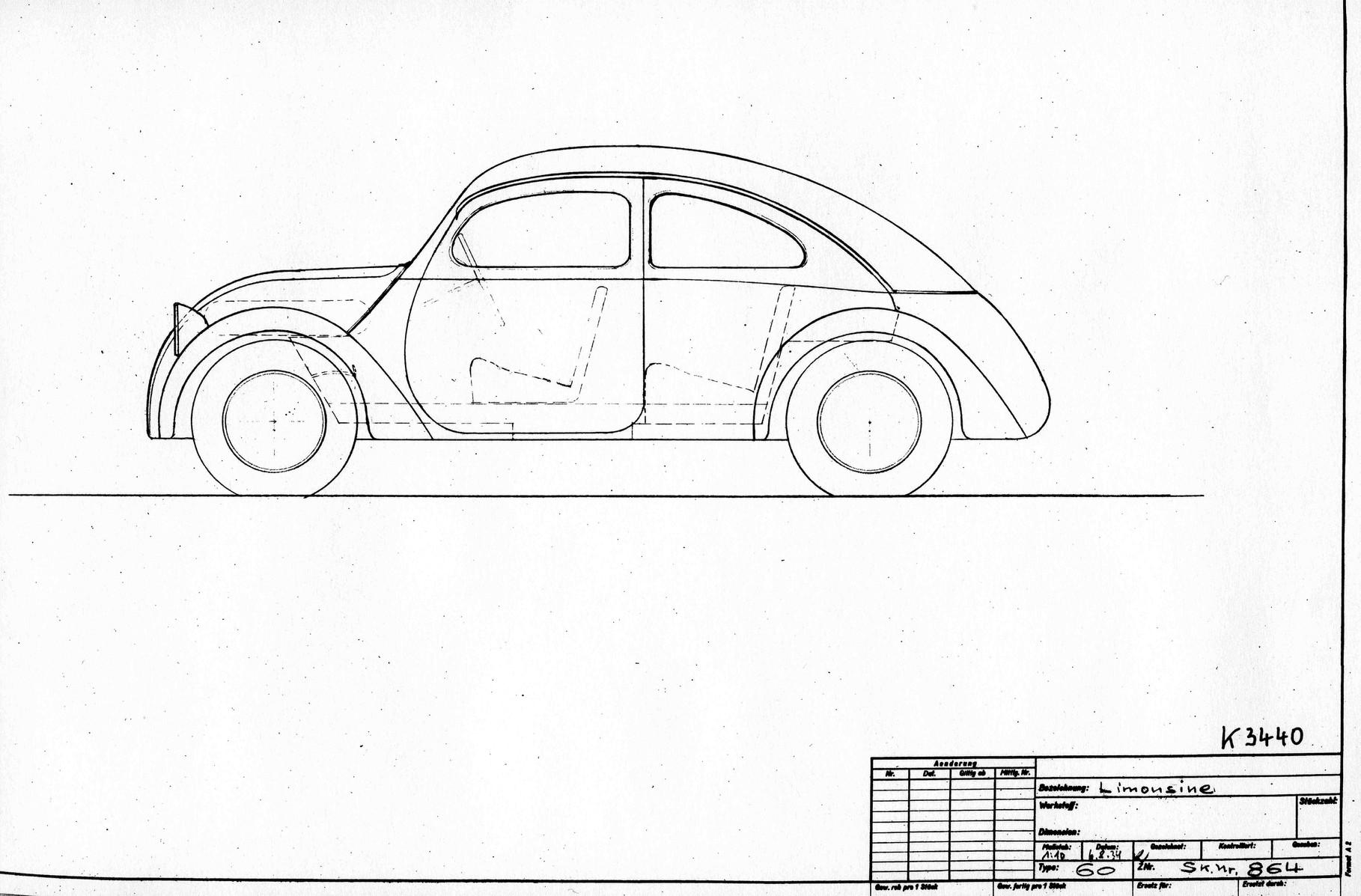 August 1934: Skizze Limousine Typ 60: Karosserie Studie von Erwin Komenda