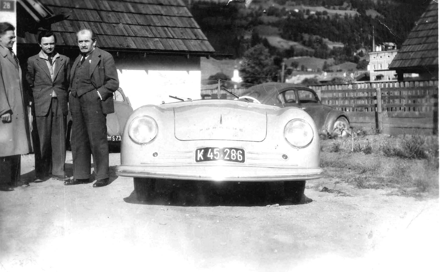 Erwin Komenda, Ferry and Ferdinand Porsche and Porsche Nr. 1 in Gmünd