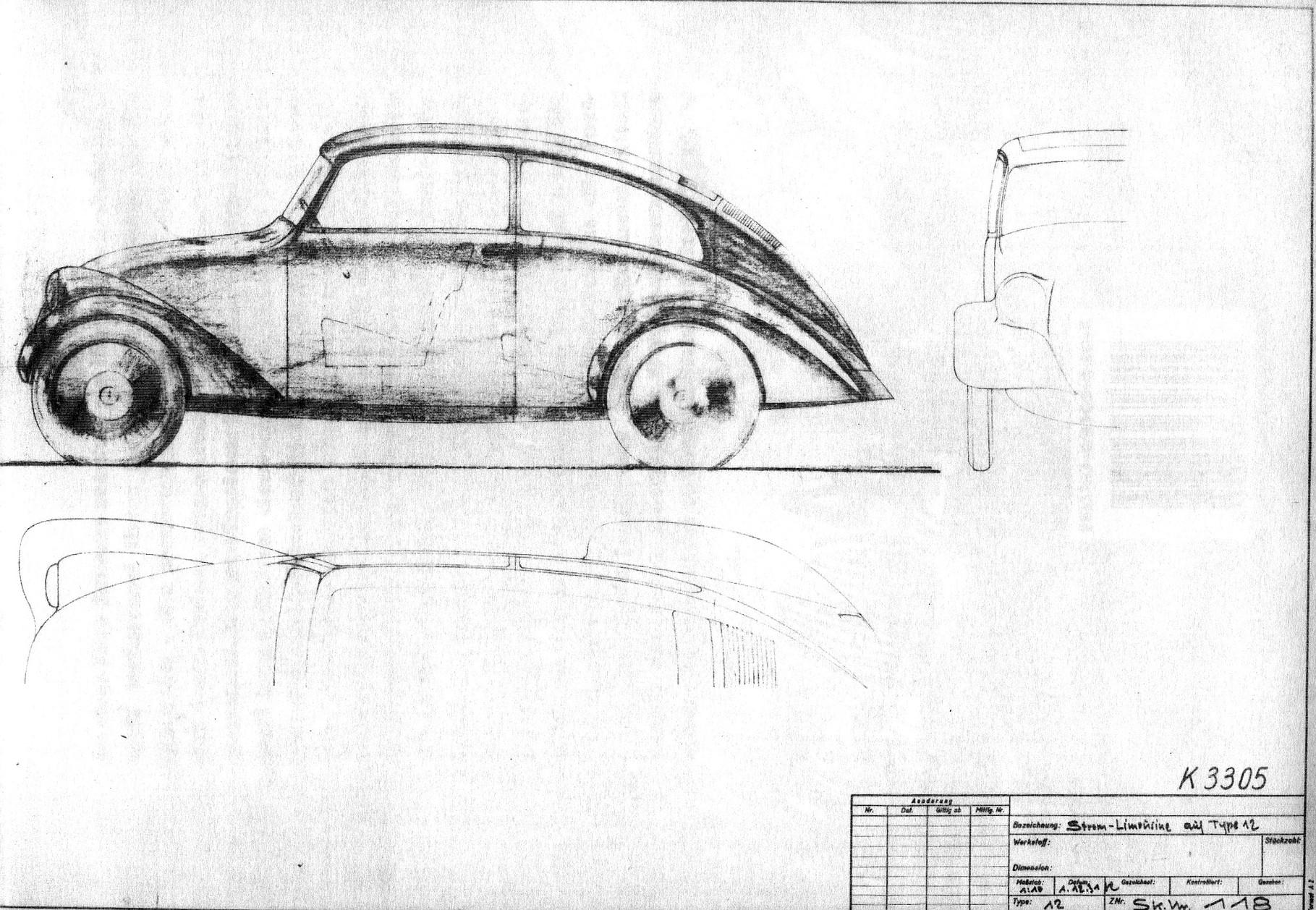 1931: Limousine auf Typ 12 von Erwin Komenda, signiert und datiert.