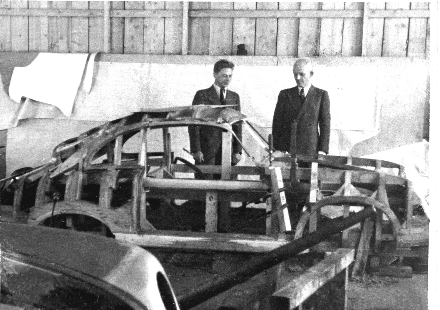 Eriwn Komenda and Otto Husslein: The wooden moue was used to hammer the sheet metal into the shape of the various body parts of the Porsche 356 Coupe.