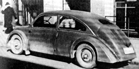 1934: Der von Porsche für NSU entwickelte Typ 32 lässt die Form des späteren Käfers erahnen