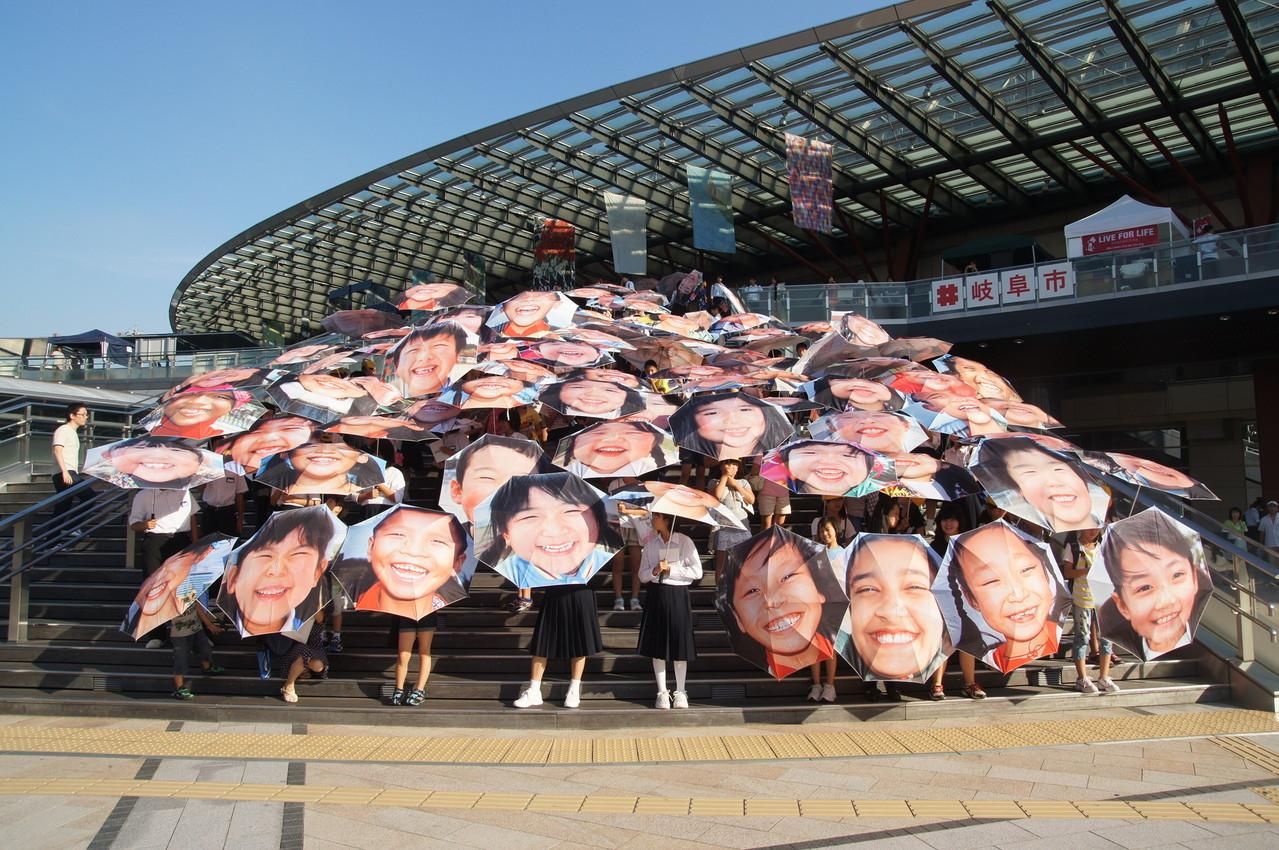 岐阜駅前の階段