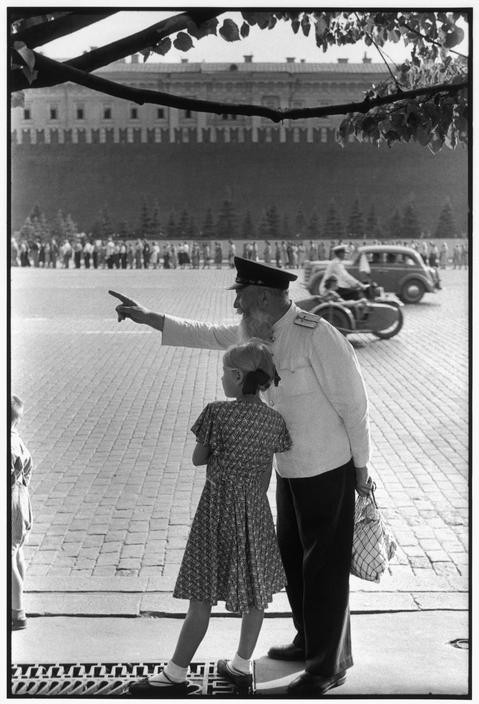SOVIET UNION. Moscow. Red Square, facing the Kremlin's brick wall. 1954. Old railway worker