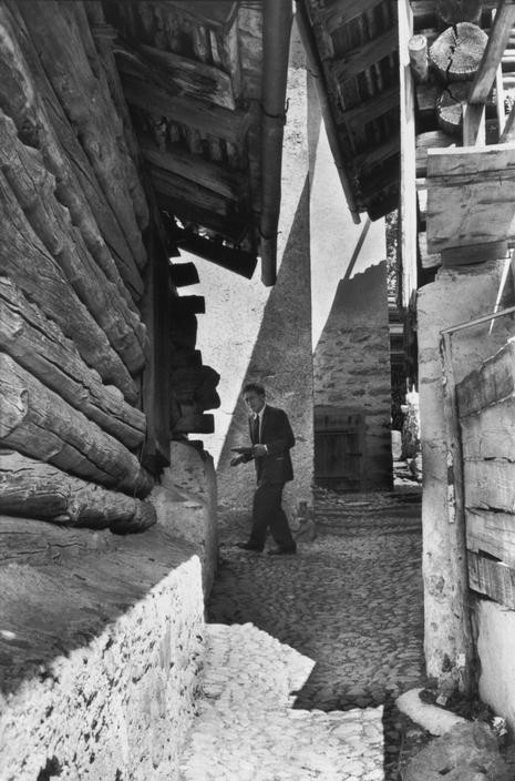 SWITZERLAND. Region of Grisons. Village of Stampa. Swiss painter and sculptor, Alberto GIACOMETTI, at his home. 1961