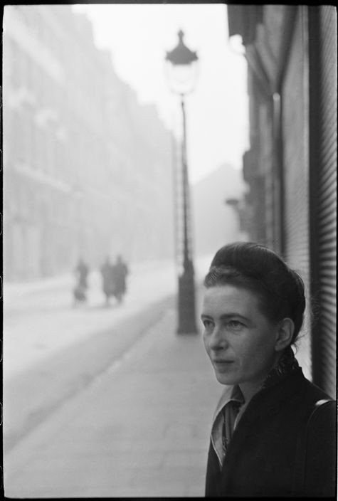 FRANCE. Paris. St Germain des Pres. 1947. Simone de BEAUVOIR, French writer.