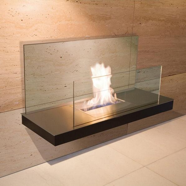 Wall Flame 2 Edelstahl, schwarzem Gehäuse mit klarer Glasrückwand 540a