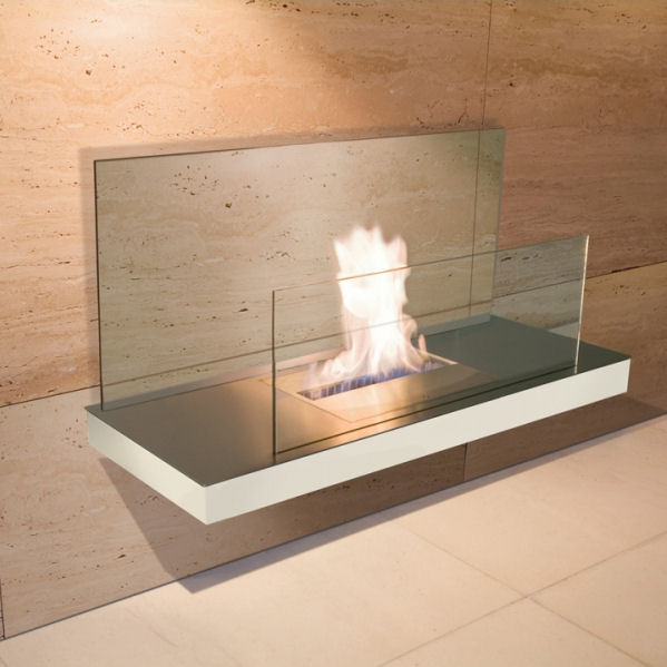 Wall Flame 2 Edelstahl, weißem Gehäuse mit klarer Glasrückwand 540d