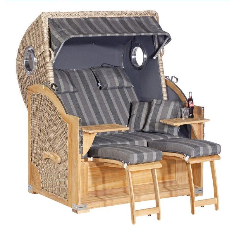 Strandkorb Rustikal 500 Plus Comfort TEAK antik-weiß Stoff 1232