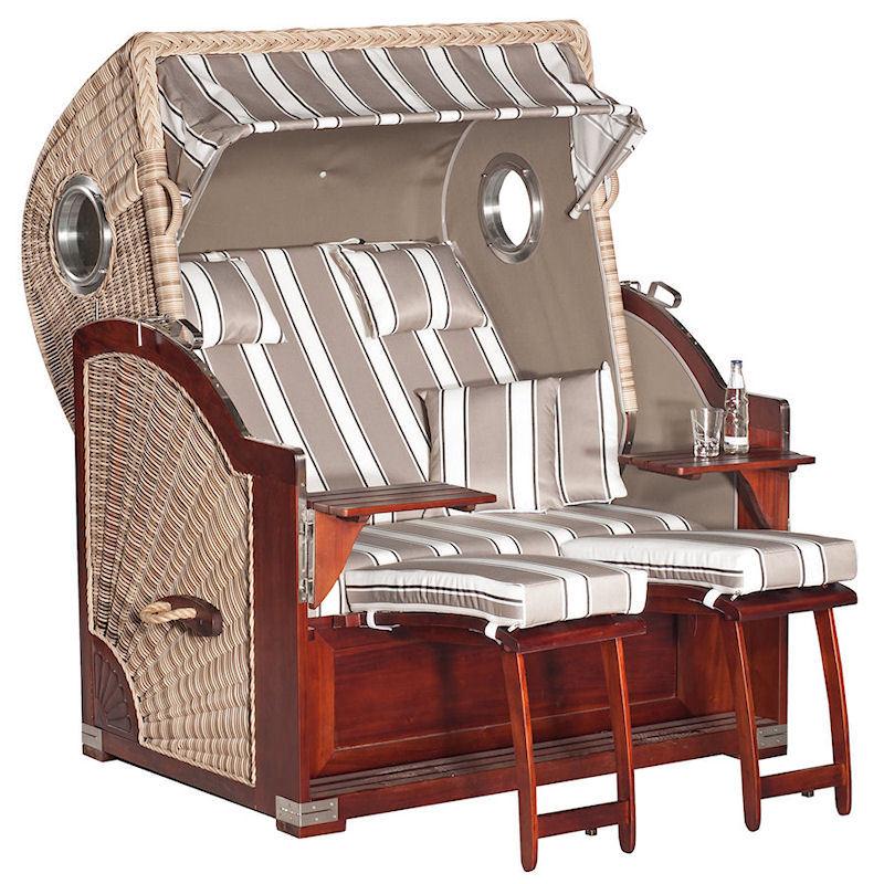 Strandkorb Rustikal 500 Plus Comfort antik-weiß Stoff 1215