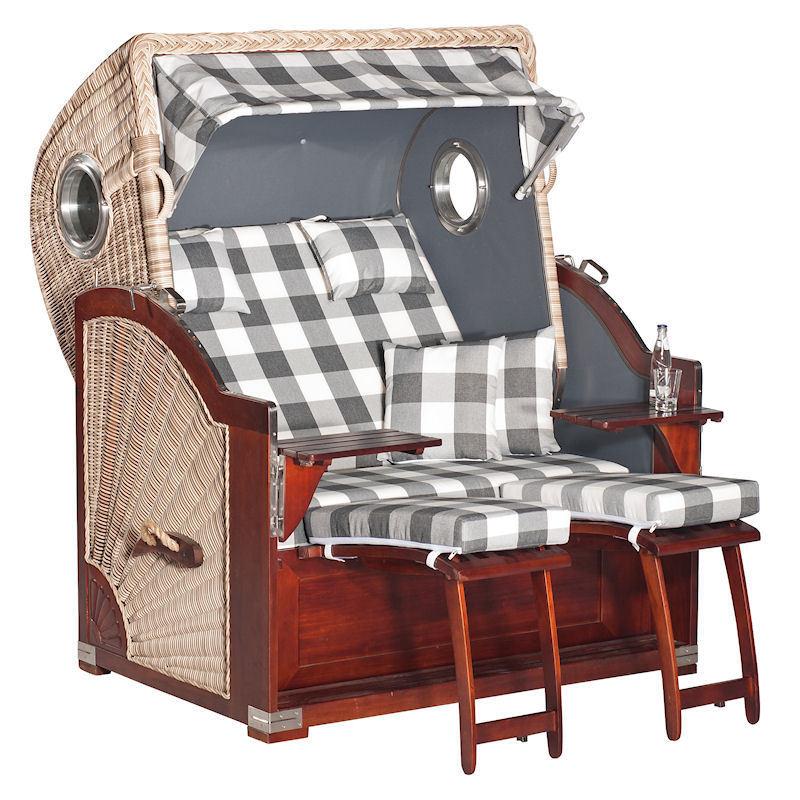 Strandkorb Rustikal 500 Plus Comfort antik-weiß Stoff 1210