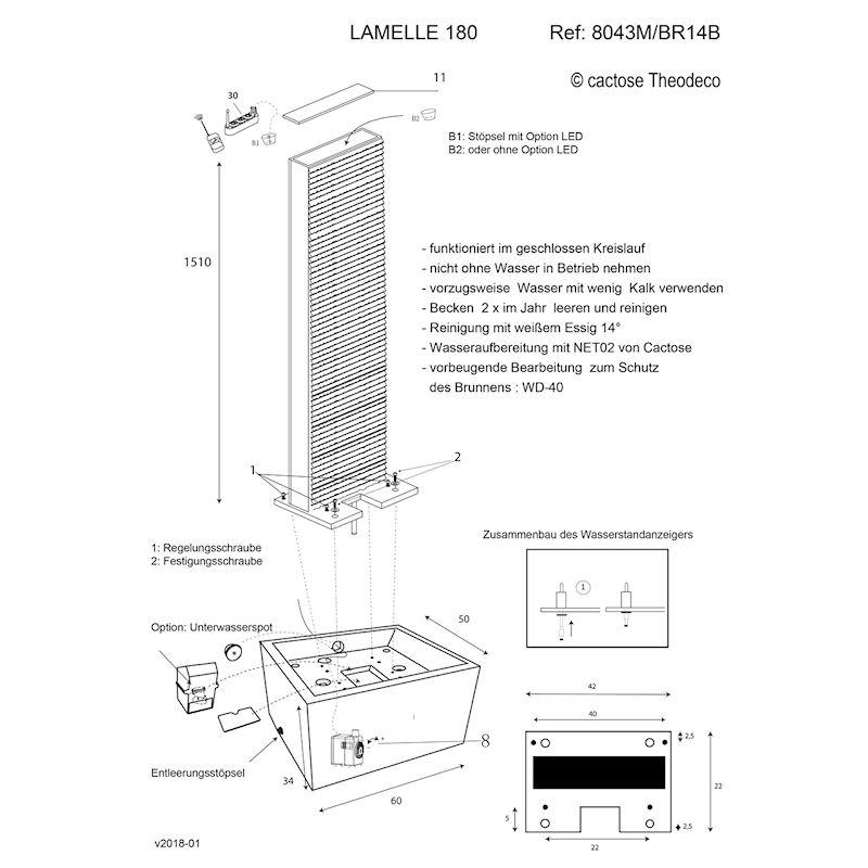 Zimmerbrunnen/Wasser Fall Lamelle 180 von Cactose Skizze
